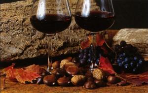 vino rosso e castagne