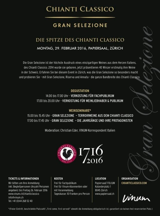 Chianti Classico Gran Selezione - Zürich - Papiersaal - 29. Februar 2016